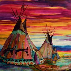 Choose your favorite tipi paintings from millions of available designs. All tipi paintings ship within 48 hours and include a money-back guarantee. Native American Teepee, Native American Decor, Native American Paintings, American Indian Art, Native American Indians, Native American Bedroom, Native American Drawing, Native American Moccasins, Native American Print
