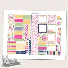 Spring planner printable for use with mini Happy planner,Printable planner stickers,Pink and Yellow roses planner stickers, weekly kit,filo by MeeDigiScrap on Etsy