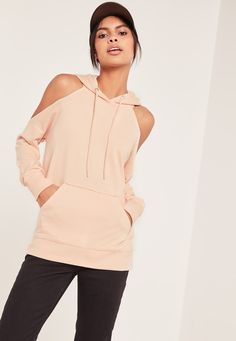 For casual stylin' with a twist, you need this cold shoulder hoodie to nail that laid back look.