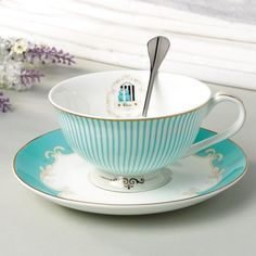British Style Coffee Cup & Saucer & Spoon Set (3 Pcs)