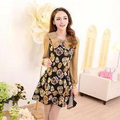 Bow-Accent Patterned Chiffon Dress from #YesStyle <3 Mooiee YesStyle.com