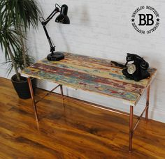 ★ Upcycled Boat Plank Reclaimed Pallet Coffee Table Copper Pipe Legs Beach Chic in Home, Furniture & DIY, Furniture, Tables | eBay