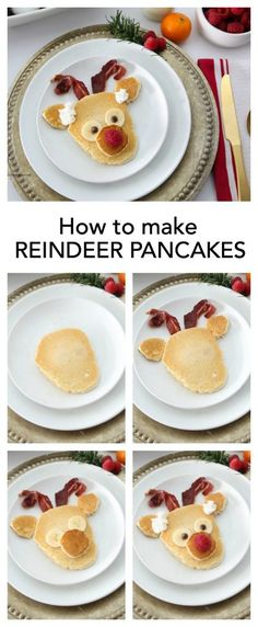 Make these fun and festive Rudolph Reindeer Pancakes for your Christmas Breakfast. A great way to celebrate the holiday season with the family! Sharing our Easy tutorial. Christmas Brunch, Christmas Breakfast, Christmas Desserts, Holiday Treats, Christmas Treats, Holiday Recipes, Christmas Pancakes, Christmas Holidays, Holiday Foods
