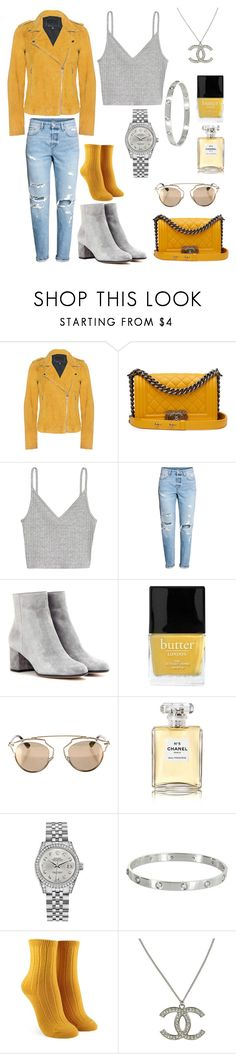 """GreysMusti"" by cocoalani ❤ liked on Polyvore featuring Goosecraft, Chanel, Gianvito Rossi, Butter London, Christian Dior, Rolex, Cartier and Forever 21"