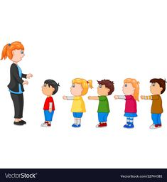 Kids with arms up standing in line in front of the Preschool Behavior, Preschool Learning Activities, Preschool Activities, Picture Comprehension, St Exupery, Flashcards For Kids, Social Skills For Kids, Numbers For Kids, Family Illustration