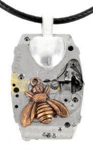 3BE3 Bee recycled watch pendant