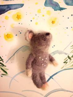 Enjoying the Milky Way.  Handmade needle felted animal. Woodland forest creature is wonderful idea for Xmas gift. Kids soft toys made by Troha 🐀