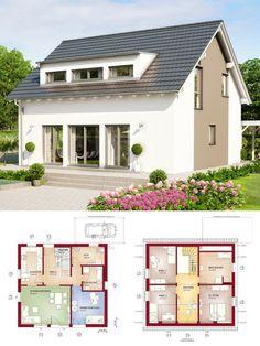 Klassisches Satteldach-Haus mit Gaube & Galerie - Einfamilienhaus mit Carport bauen Grundriss Fertighaus Celebration 150 V3 Bien Zenker Hausbau Ideen - HausbauDirekt.de