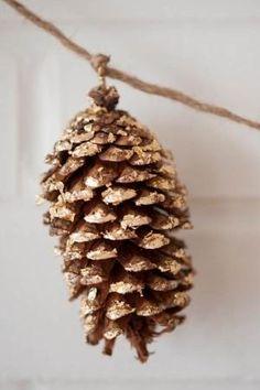 DIY gold leaf pine cones.