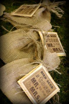Wedding Celebration Birdseed Bags or Glitter, Rice or confetti
