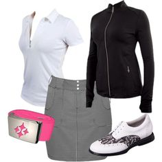 add a pop of color to your basic black and white golf outfit #golf4her