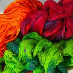 All these bright beauties are skeined and ready for you to snap up on our site! 100% British wool.