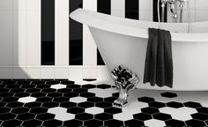 Black hexagon tiles with contrasting white grout