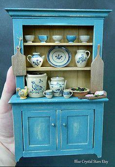 Exquisite Ooak Artisan Dresser Doll House by BlueCrystalStars Miniature Kitchen, Miniature Crafts, Miniature Houses, Miniature Dolls, Miniature Furniture, Dollhouse Furniture, Home Furniture, Dollhouse Kits, Dollhouse Miniatures