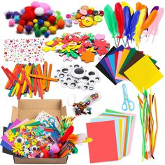 WATINC DIY Art Craft Kit for Kids Creative Pompoms Pipe Cleaners Feather Foam Flowers Letters Crystal Sticker Felt Wiggle Googly Eyes Sequins Button Colorful Wooden Sticks Paper Party Supplies >>> Check out this great product. (This is an affiliate link) Craft Kits For Kids, Gifts For Kids, Party Supplies, Craft Supplies, Foam Letters, Sewing Crafts, Diy Crafts, Arts And Crafts, Paper Crafts