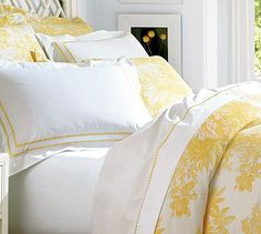 For my bedroom: Matine Toile Duvet Cover & Sham - Marigold. Pair with buttercream nightstands and a turquoise painted dresser. http://www.potterybarn.com/products/matine-toile-duvet-cover-sham-marigold/?pkey=cduvet-covers-shams