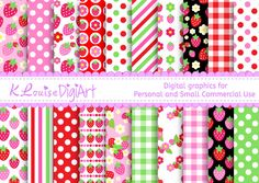 Digital Strawberry patterned papers in 8.5 by 11 and 12 by 12 for Personal and Small Commercial Use