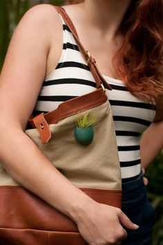 Tote Planter in Teal A Wearable Planter with by wearableplanter, $37,00