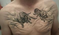 Completely healed blackngray ram and bull on mans chest. Artist Janis Svars #blackandgray #chestpiece #chesttattoo #blackngray #ram #ramtattoo #bull #bulltattoo #animal #animaltattoo #realistictattoo #realism #riga #tattooinriga #sporta2 #tattooed #tattooist #tattooart #art #tattooink #ink #inked #skin #tattooartist #tattoofrequency #share #like #follow