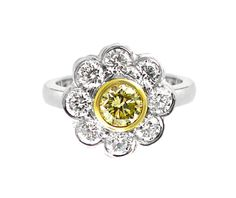An White and Yellow Gold Fancy Yellow Diamond Floral Ring Halo Rings, Diamond Rings, Diamond Engagement Rings, Vintage Rings, Colored Diamonds, Jewelry Collection, Fancy, Jewels, Yellow