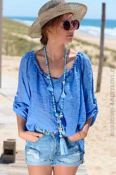 81661ba0ad6a Tunique bleu roi voile de coton basique - Horizons Lointains