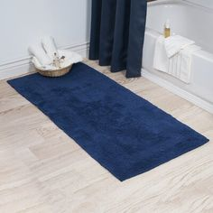 Trademark Windsor Home Cotton Reversible Bath Mat Runner x (Navy), Blue, Size 24 x 60 Reversible Rug, Machine Washable Rugs, Reversible Bath Rugs, Long Bath Rugs, Rugs, Windsor Homes, Lavish Home, Bath Runner Rugs, Yorkshire Home