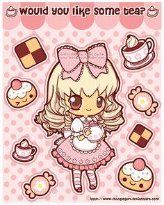 Stickers: Tea Time by *MoogleGurl on deviantART