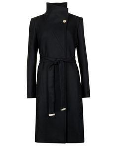 Belted wrap coat - Black | Jackets & Coats | Ted Baker