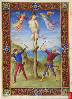 """The martyrdom of St Sebastian: London, British Library, MS. Yates Thompson 29, f. 132v Painted by Perugino in Bologna around the year 1500, signing it at the bottom of the page """"PETRVS PRVSINVS PINXIT"""". The miniature was probably made for Bonaparte Ghislieri, a Bolognese senator (d. 1541),"""