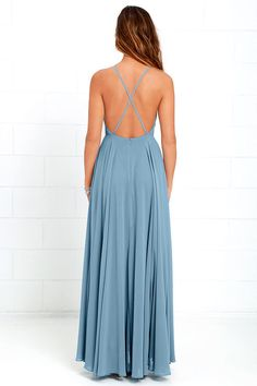 Lulus Exclusive! The Mythical Kind of Love Slate Blue Maxi Dress is simply irresistible in every single way! Lightweight Georgette forms a fitted bodice with princess seams and an apron neckline supported by adjustable spaghetti straps that crisscross atop a sultry open back. A billowing maxi skirt cascades from an elasticized waistline into an elegant finale, perfect for any special occasion! Hidden back zipper with clasp.