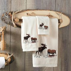 Rustic Cabin Antler Wood Towel Bar