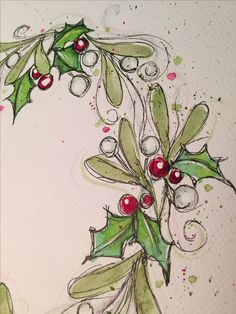 Getting started for Christmas cards. Dr PH Martin Hydrus. Uni pin pigment liner. Tiger paper. Mistletoe and holly watercolor