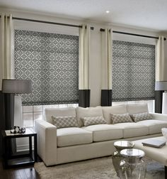 Simply Chic Roman Shade: Patterns Simply Chic Roman Shade shown in Solitaire: Black Licorice Living Room Decor Curtains, Living Room Windows, Drapes Curtains, Home Living Room, Blue Drapes, Living Room Blinds, Grommet Curtains, Small Living Room Design, Living Room Designs