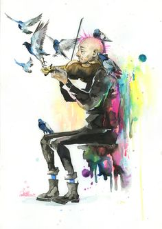 Old Man Punk and Violin Watercolor Wash Painting by Lora Zombie Lora Zombie, Zombie Art, Punk Art, Daft Punk Poster, Illustrations, Illustration Art, Zombie Kunst, Art Grunge, Violin Art