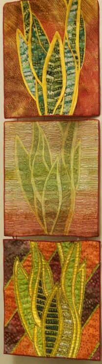 """""""trio of sansevieria"""" wall hanging quilts, by janet pittman"""