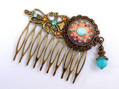 Edler Perlen Haarkamm in türkis braun im Antik von Schmucktruhe
