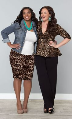These girls are too cute in our plus size Rhapsody Ruched Skirt and Party Ponte Peplum Top.  www.kiyonna.com  #KiyonnaPlusYou  #Plussize  #MadeintheUSA  #Kiyonna