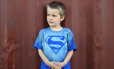 The kids are going to love this --> DIY bleached superman tee