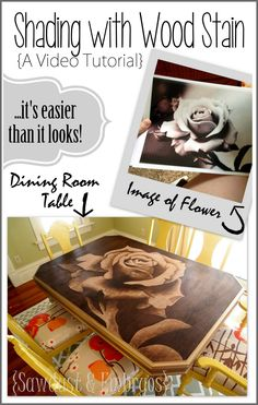 Learn how to make beautiful artwork on your furniture using wood stain... IT'S EASIER THAN IT LOOKS! {Sawdust and Embryos}