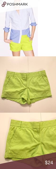 """J. Crew 3"""" Chino Shorts J. Crew Chino Shorts. 3 inch inseam. The city fit, with a low rise. Sits just above the hip. Slant front pockets. Back welt pockets. Zipper fly with tab and button closures. 100% Cotton Pre-loved – excellent condition, no major signs of wear, rips or stains. Offers welcome through offer button. No trades. No modeling. J. Crew Shorts"""