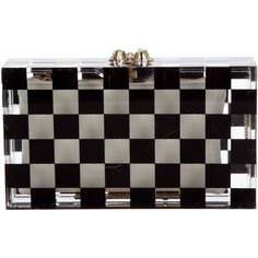 Pre-owned Charlotte Olympia Checkered Pandora Clutch ($395) ❤ liked on Polyvore featuring bags, handbags, clutches, black, clear handbags purses, clear lucite purse, clear acrylic purse, clear hand bags and acrylic clutches