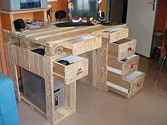 Faire un bureau en bois de palette des mod les palettes pinterest bois - Faire un bureau en bois ...