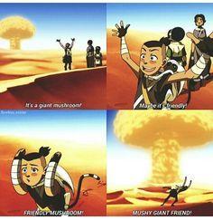 "It's a giant mushroom! Maybe it's friendly!"" ""Friendly mushroom ..."