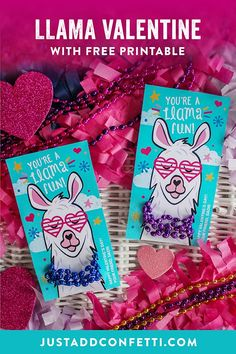 "This valentine is…dare I say, a ""llama"" fun! This little lady could be paired with any small gift or favor but I really love the idea of her wearing a beaded necklace. Doesn't it just complete her look?!? haha! Check out the full post on Just Add Confetti"