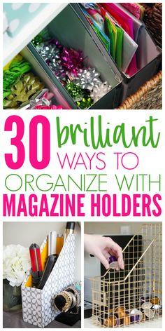 30 Clever Ways to Organize With Magazine Holders - Life Hacks - diy-craft Organisation Hacks, Storage Hacks, Office Organization, Pantry Storage, Bin Storage, Dollar Tree Organization, Purse Storage, Folder Organization, Craft Storage