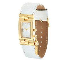 344382bfdc2 C. Wonder Rectangular Dial Trellis Embossed Strap Watch w  Tassel