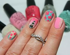 Nails  Skittles  ~ Day 3: Vintage Roses, Lace & Bling!