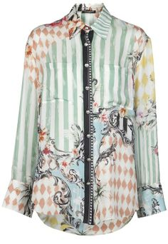 Balmain mixed print blouse on shopstyle.com