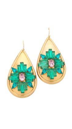 Sandy Hyun Teardrop Jeweled Earrings