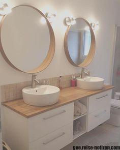 ikea bathroom ein elterliches Bad nehmen # am . Bathroom Red, Ikea Bathroom, Diy Bathroom Remodel, Bathroom Furniture, Bathroom Interior, Interior Design Kitchen, Bathroom Vintage, Vintage Mirrors, Downstairs Bathroom